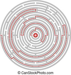 Circular labyrinth abstract, logic puzzle, path to the goal...