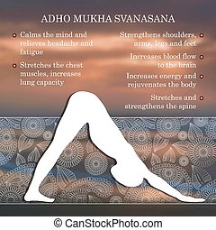 Yoga pose infographics, benefits of practice Adho Mukha...