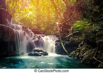 Huay Mae Khamin waterfall in tropical forest, Thailand