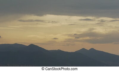 Misty sunset. - Great sunset over the misty mountains with...