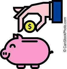 piggybank saving money - illustration of a hand putting...