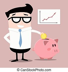 Businessman with piggybank - minimalistic illustration of a...