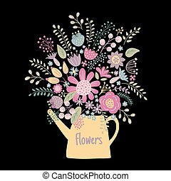 flower kettle on a dark background - vector illustration of...