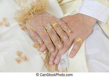 primo piano,  religion),  (islamic, sposo, anelli, coperchi, ciascuno, sposa, mani, altro