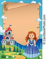 Parchment with princess near castle 1