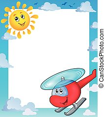 Summer frame with sun and helicopter