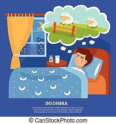Insomnia People Problems Flat Poster - Insomnia sleep...