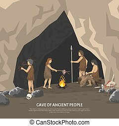 Prehistoric Cave Illustration - Color illustration showing...