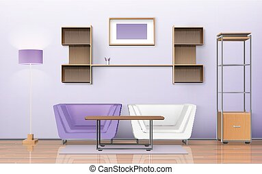 Room Isometric Design - Living room design with carpet...