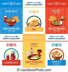 Russian Cuisine Flat Icons Composition Poster - Russian...