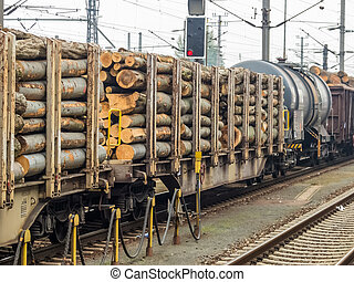 wagon loaded with wood - wagon of railroad loaded with wood...