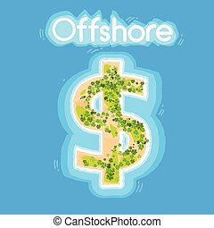 Dollar Sign Offshore Island Top View Beach Palm Tree Ocean...