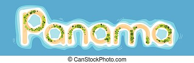 Panama Offshore Island Top View Letters Shape Beach Palm...