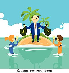Business Man Hold Money Bag Offshore Island, Press Reporters...