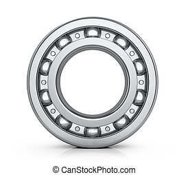 Radial roller bearing isolated white background. 3D image