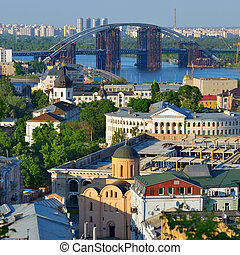Beautiful view of the old district of Podil - Capital of...