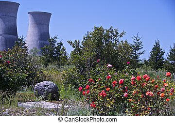 Two very large Nuclear Power Plant Cooling Towers loom high above the surrounding fields.
