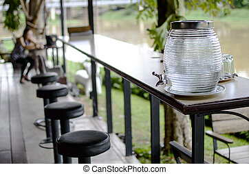 Cold water dispensers on table