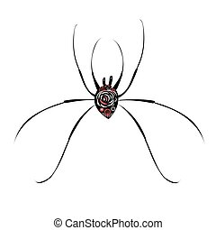 big spider on white background - Beautiful illustration of a...