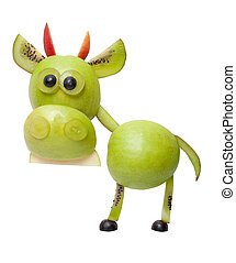 toro, hecho, de, verde, frutas, en, aislado, Plano de fondo,...