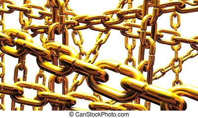 Gold Chains Abstract On White Background Loop able 3DCG...