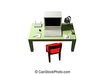 3d illustration of a low poly desk isolated on white background