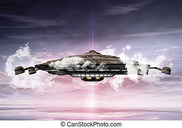 3d illustration of un unidentified flying object - 3d...