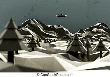 3d illustration of an unidentified flying object low poly -...