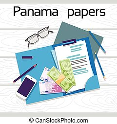 Offshore Panama Papers Documents Desk Business Folder Top...