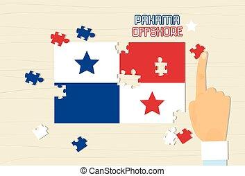 Panama National Flag Puzzle Flat Illustration