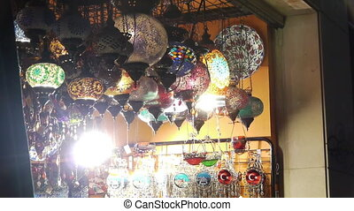 Souvenir shop. - A souvenir shop at night in Turkey.