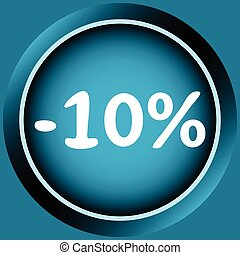 Icon of 10 percent - Icon of blue color at a discount...