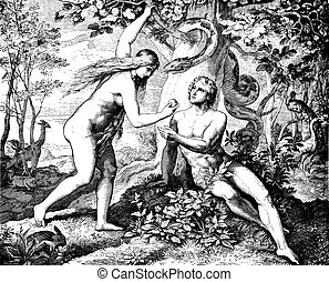 Adam and Eve Eat Forbidden Fruit - Adam Eve Eat Forbidden...