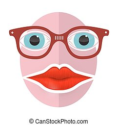 Abstract Funky Face with Big Mouth and Glasses
