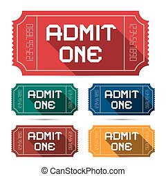 Admit One Tickets Set - Vector Illustration