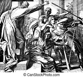 Saul Tries to Kill David - These engravings were written and...