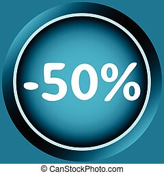 Icon of 50 percent - Icon of blue color at a discount...
