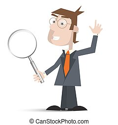 Man in Suit with Magnifying Glass Isolated on White Background Vector