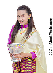 Beautiful Thai woman in traditional dress - Beautiful woman...