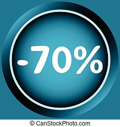 Icon of 70 percent - Icon of blue color at a discount...