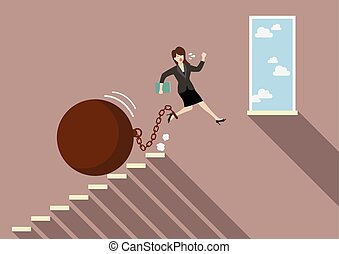 Business woman jumping to freedom with heavy weight burden....