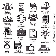 Business project planning icons on white background