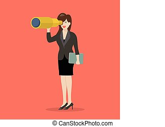 Business woman search in business strategy