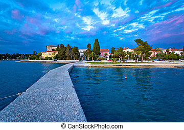 Zadar coast blue evening view, Dalmatia, Croatia