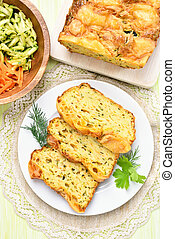 Slices of vegetable moist bread with zucchini, cheese, eggs,...