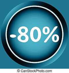 Icon of 80 percent - Icon of blue color at a discount...
