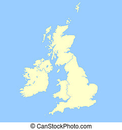 United Kingdom map isolated on a blue background.