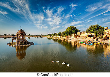 Indian landmark Gadi Sagar in Rajasthan - Indian landmark...