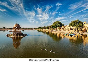 Indian landmark Gadi Sagar in Rajasthan - Indian landmark...