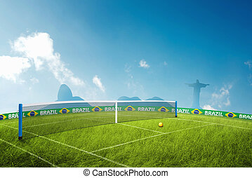 Tennis grass field in brazil for the summer games
